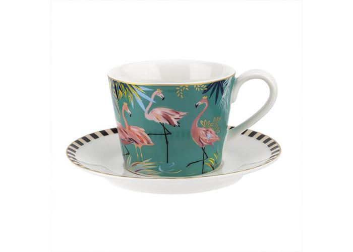 Sara Miller Tahiti Flamingo Teacup & Saucer - 1