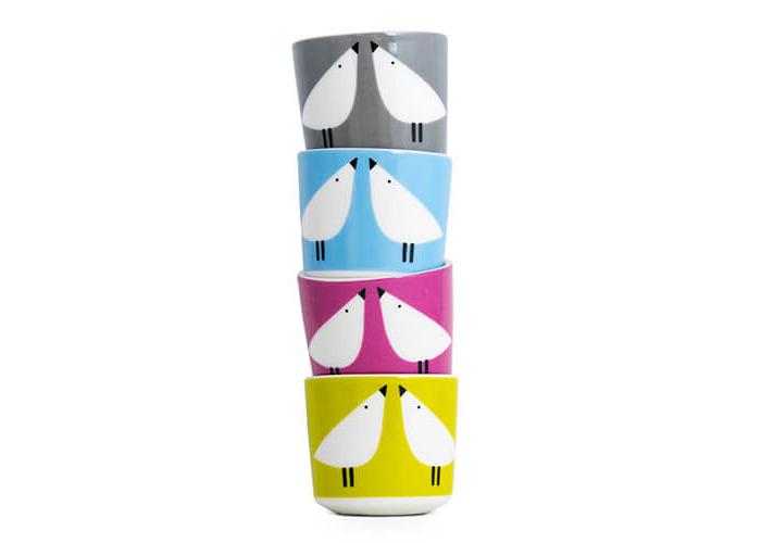 Scion 4-Piece Lintu Egg Cup, Porcelain, Multi-Colour, 4.8 x 4.8 x 4.8 cm - 1