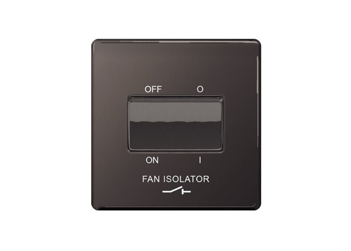 Screwless Flat Plate 10A 3 Pole Fan Isolator Switch, Black Nickel Finish - 1