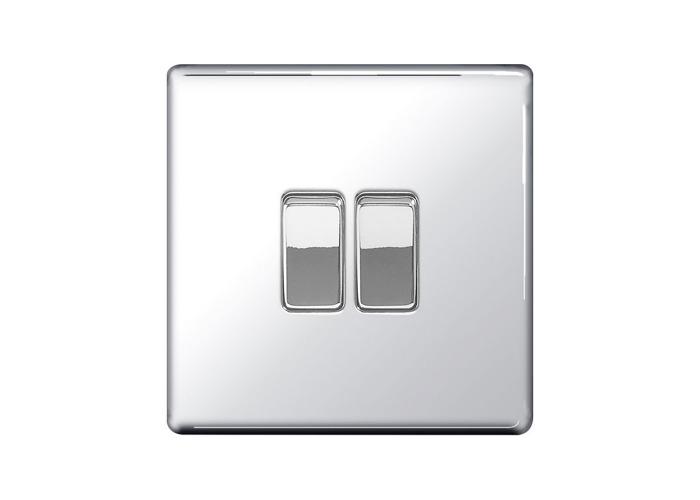 Screwless Flat Plate 10A Double Light Switch, Polished Chrome Finish - 1