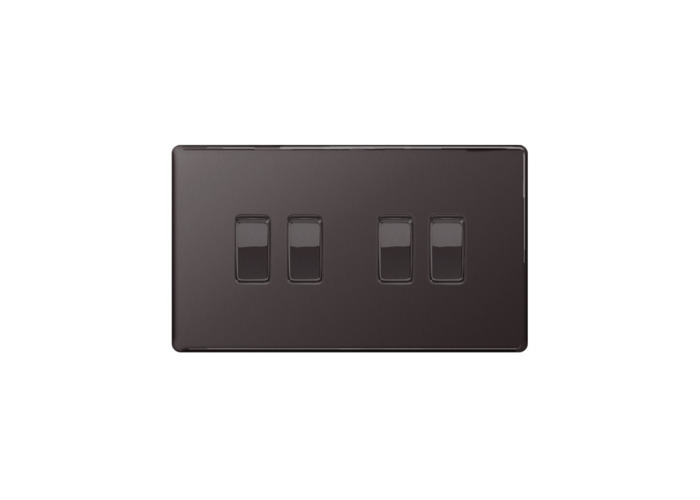 Screwless Flat Plate 10A Four Way Light Switch, Black Nickel Finish - 1