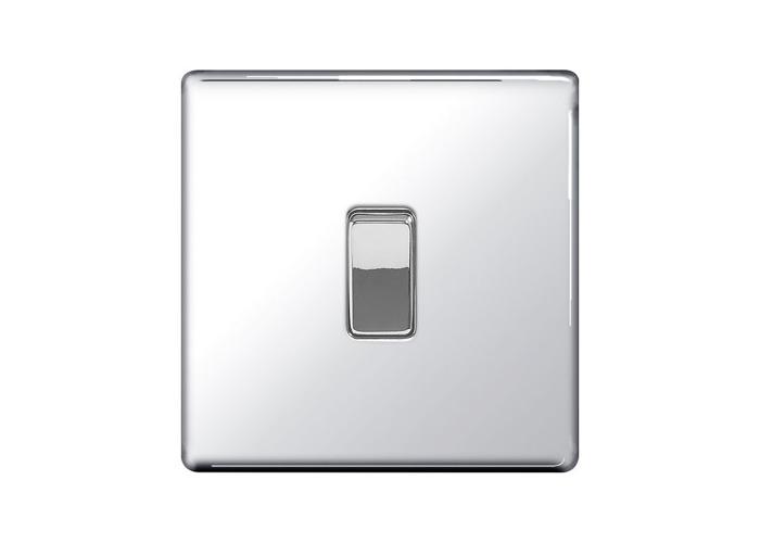 Screwless Flat Plate 10A Single Intermediate Light Switch, Polished Chrome Finish - 1