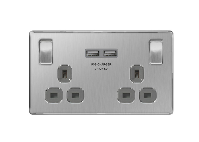 Screwless Flat Plate 13A Double Plug Socket with 2 x 3.1A USB Charger, Brushed Steel Finish, Grey Inserts - 1