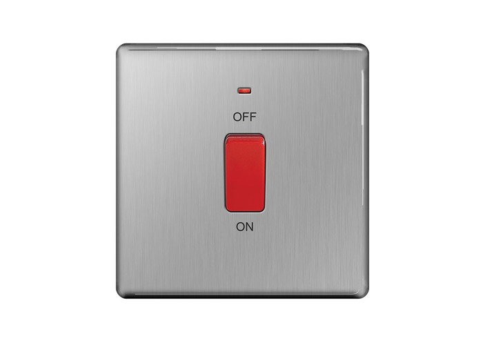 Screwless Flat Plate 45A Single Cooker Switch, Brushed Steel Finish - 1