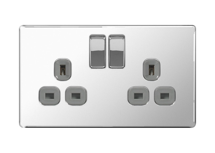 Screwless Flat Plate Double 13A Plug Socket, Polished Chrome Finish, Grey Inserts - 1