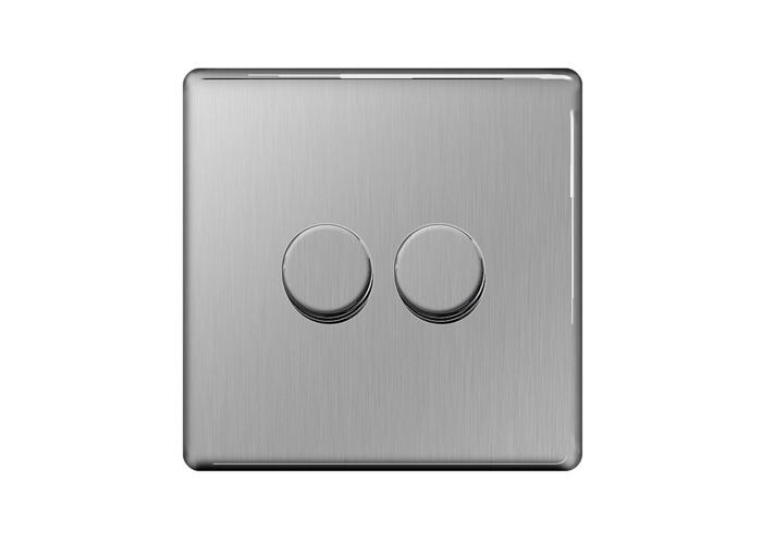 Screwless Flat Plate Double Dimmer Switch, Push On/Off 400W, Brushed Steel Finish - 1