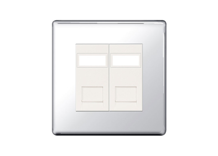Screwless Flat Plate Double RG45 Data Outlet Socket, Polished Chrome Finish - 1