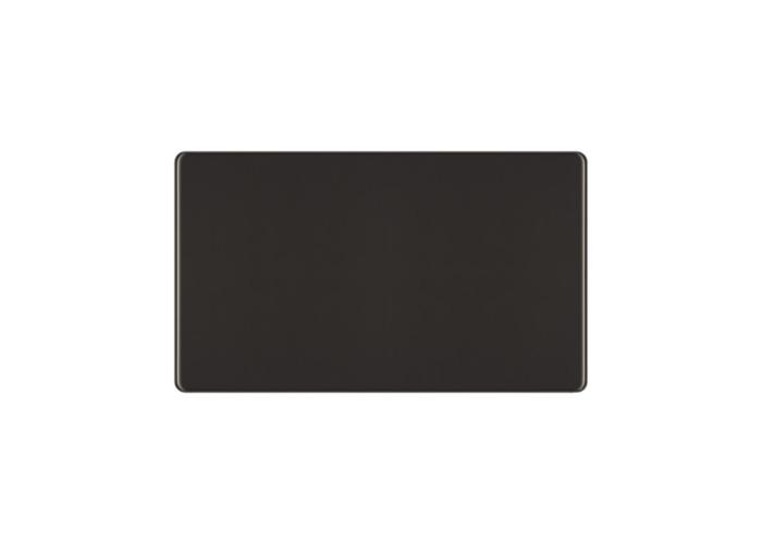 Screwless Flat Plate Double Socket Blanking Plate, Black Nickel Finish - 1