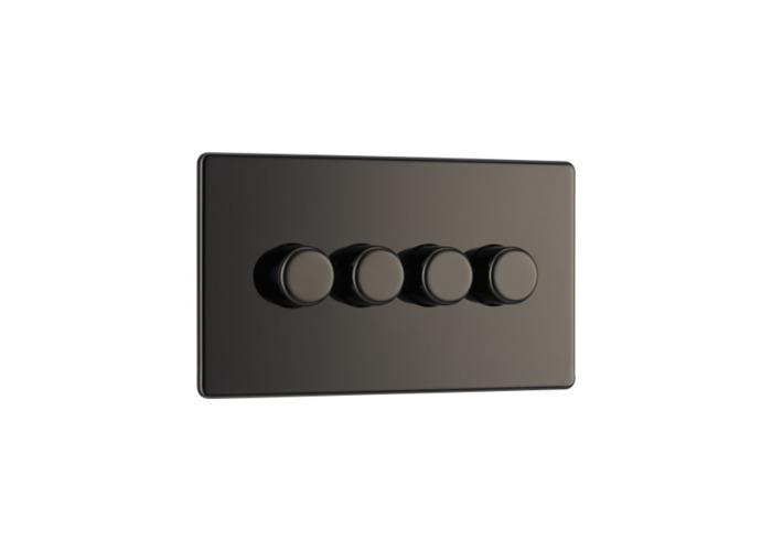 Screwless Flat Plate Four Way Dimmer Switch, Push On/Off 400W, Black Nickel Finish - 1