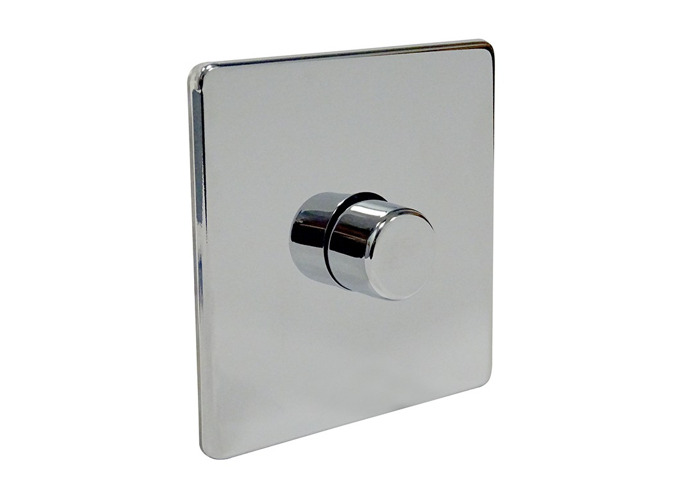 Screwless Flat Plate Single Dimmer Switch, Push On/Off 400W, Polished Chrome Finish - 1