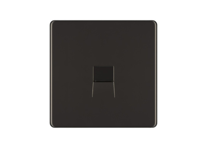 Screwless Flat Plate Single Telephone Socket, Slave, Black Nickel Finish - 1