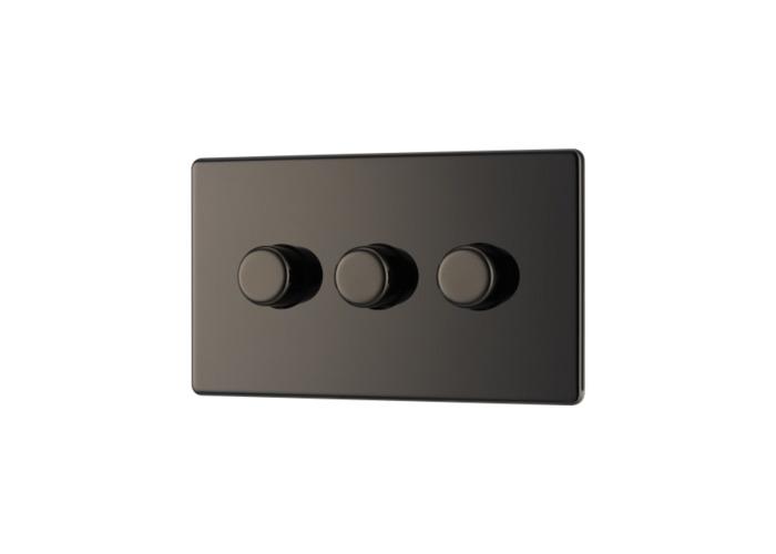 Screwless Flat Plate Triple Dimmer Switch, Push On/Off 400W, Black Nickel Finish - 1