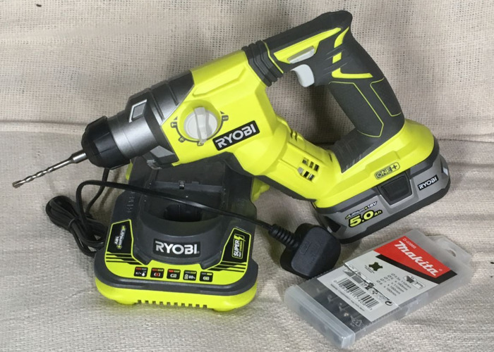 Cordless SDS Rotary Hammer Drill, 18v 5.0ah battery, & Super Charger - 1