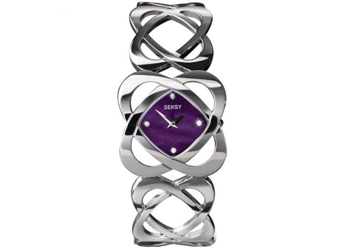 Seksy Women's Quartz Watch with Purple Dial Analogue Display and Silver Stainless Steel Bracelet 4564.73 - 1