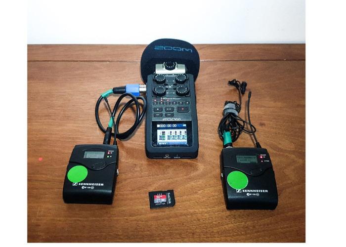 Sennheiser G3 body, lapel clip microphone kit + Zoom H6 - 1