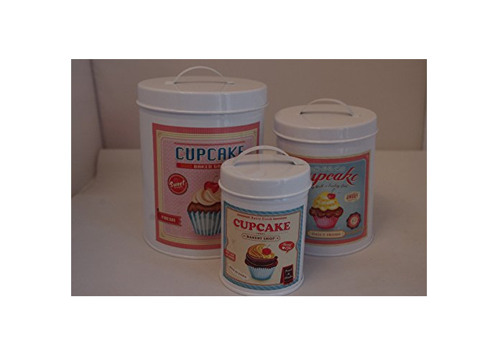 set 3 distressed shabby chic cupcake canister - 1