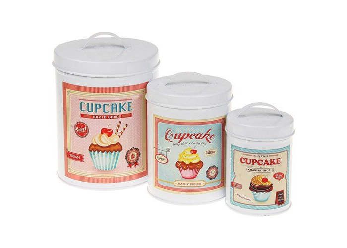 set 3 distressed shabby chic cupcake canister - 2