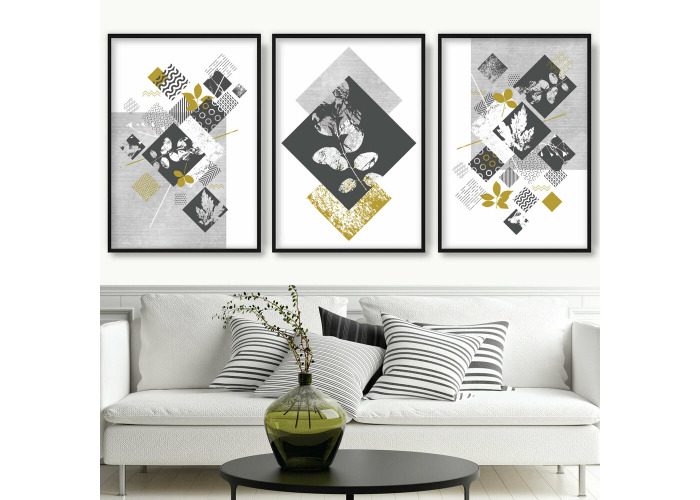 Buy Set Of 3 Abstract Dark Grey Yellow Geometric Texture