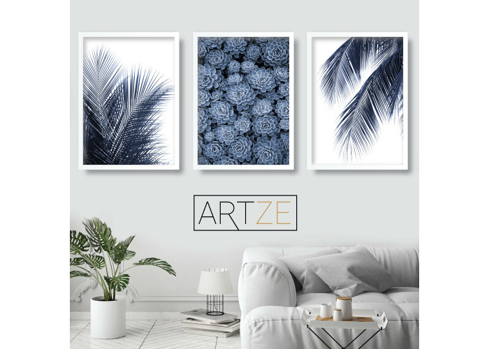 Set Of 3 Navy Blue Wall Art Print