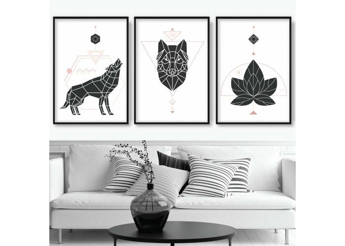 Buy Set Of 3 Pink Black Geometric Abstract Wolf Leaf Scandi