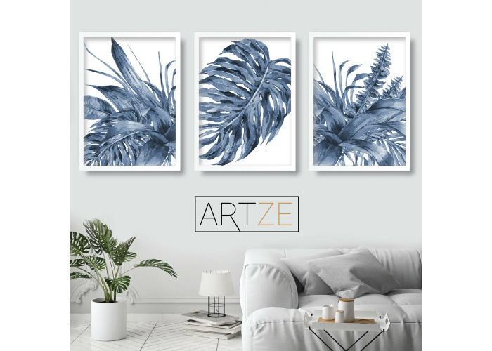 Set of 3 Tropical Fern Art Prints Botanical Navy Blue Watercolour Poster Picture - 1