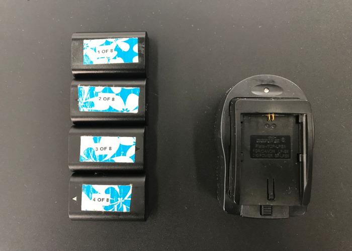 Set of 4 Canon LP-E6 Batteries + Charger - 1