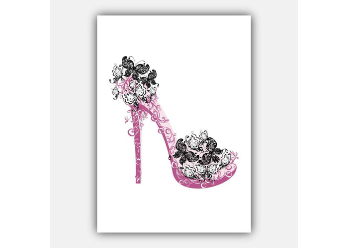 Set of 5 FASHION Perfume STYLE butterfly PINK shoe Gallery Wall Art Prints - 2