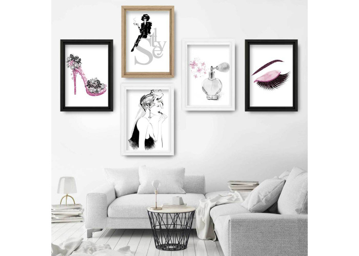 Set of 5 FASHION Perfume STYLE butterfly PINK shoe Gallery Wall Art Prints - 1