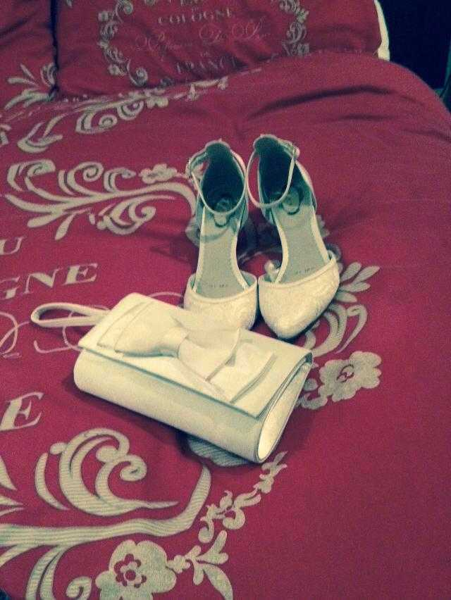 Size 4 Wedding Shoes and Wedding Clutch bag (excellent condition)  - 2