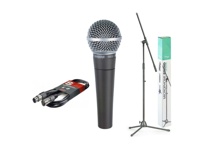 Shure SM58 Bundle with Microphone Stand & Cable - 1