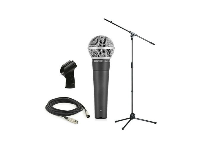 Shure SM58 Dynamic Vocal Microphone + Stand and 6m XLR Cable - 1
