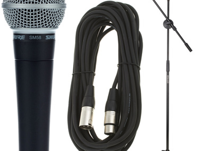 Shure sm58 microphone and stand - 1