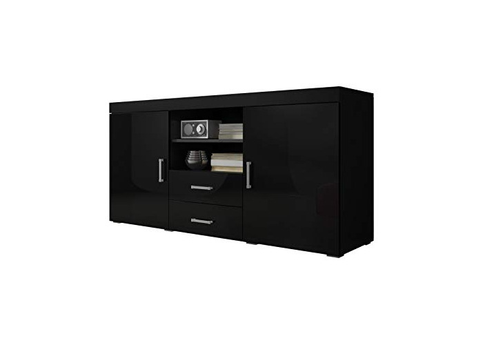 Sideboard Cupboard Buffet Mambo 164cm 2 Doors 2 Drawers Body Matte Black/Front Gloss Black - 1