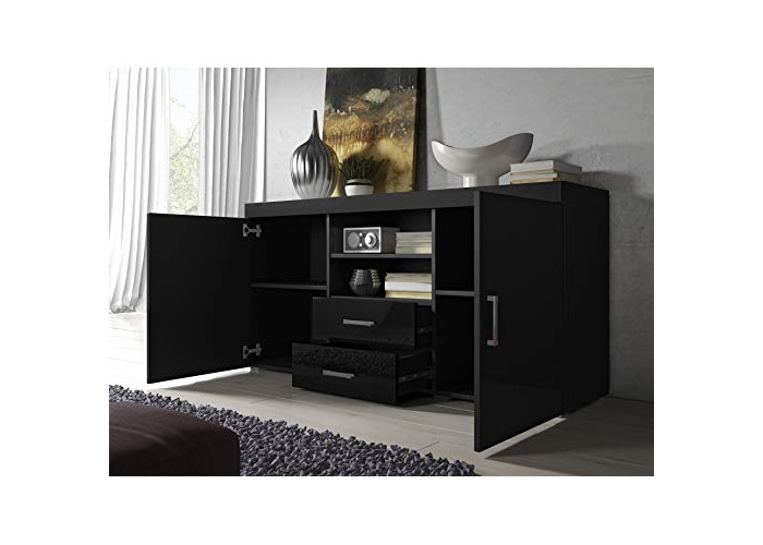 Sideboard Cupboard Buffet Mambo 164cm 2 Doors 2 Drawers Body Matte Black/Front Gloss Black - 2