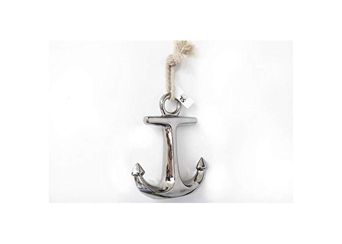 Sifcon International plc 27.5CM SILVER CERAMIC ANCHOR HOME BATHROOM DECORATION WALL HANGING FREE STANDING - 1
