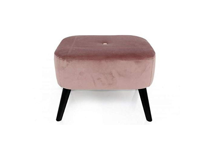 Sifcon International plc 55X41X52 PINK VELVET SQUARE STOOL LEG REST WITH WOODEN LEGS - 1