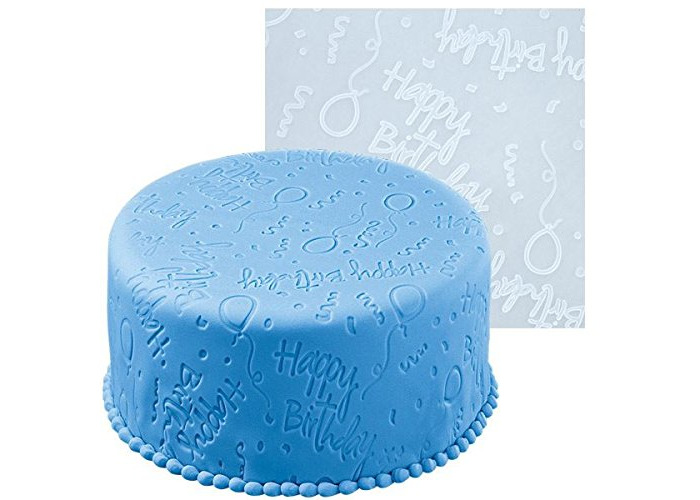 Silicon Happy Birthday Embossing Icing Decoration Mat - 1