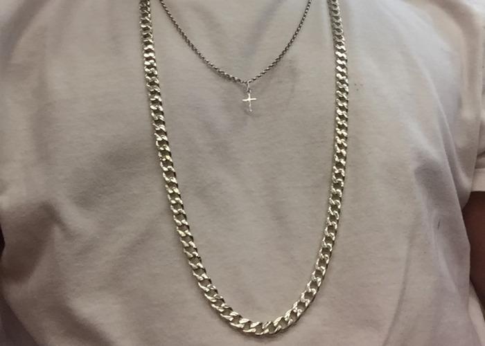 Silver cuban link chain/ jewellry - 1
