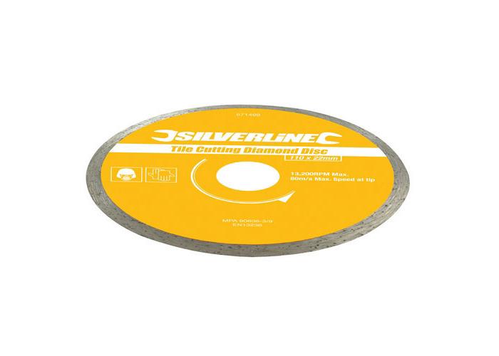 Silverline Tile Cutting Diamond Blade 110 x 22.23mm Continuous Rim Disc