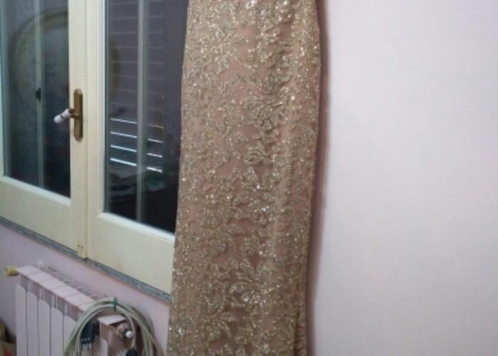 Size 14 medium ladies Gold evening dress prom formal  - 2