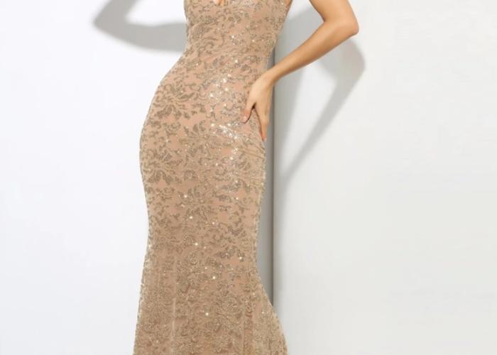 Size 14 medium ladies Gold evening dress prom formal  - 1