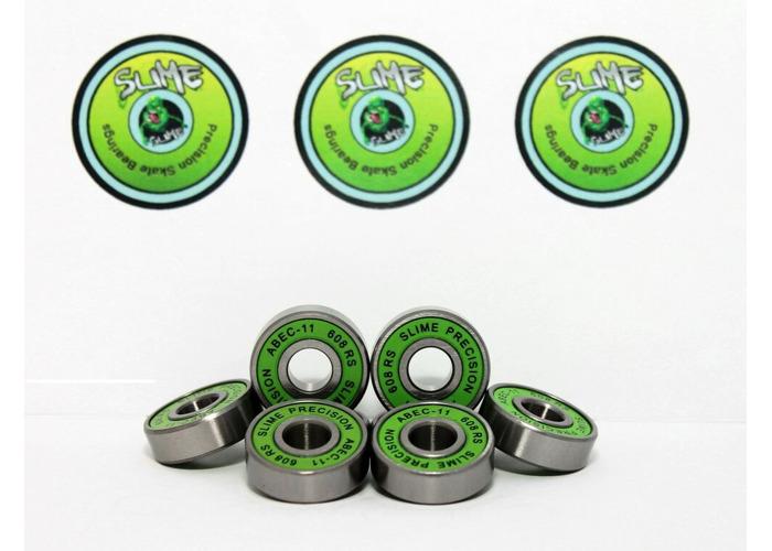 Skateboard Bearings Pack of 8 GREEN SLIME ABEC 11 608RS Bearings - 1