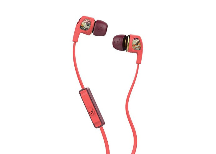 Skullcandy Dime Women's Range In-Ear Headphones with Mic - Coral/Floral/Burgundy - 1