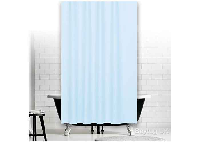 """Sky blue extra long and wide fabric shower curtain, Wide 240 x Long 200CM (94"""" x 78"""") - 1"""