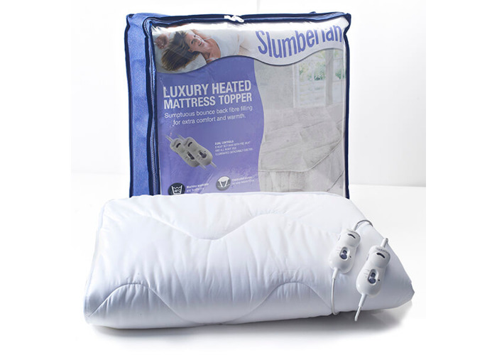 Slumberland Luxury Heated Mattress Topper Double with 2 Controls, 100% Polyester, White - 1