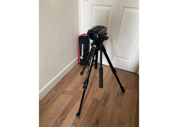 Small Manfrotto Tripod for Photo & Video - Video Fluid Head - 1