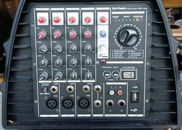 Pa system - 200 watt, 4 channel mixer - 2