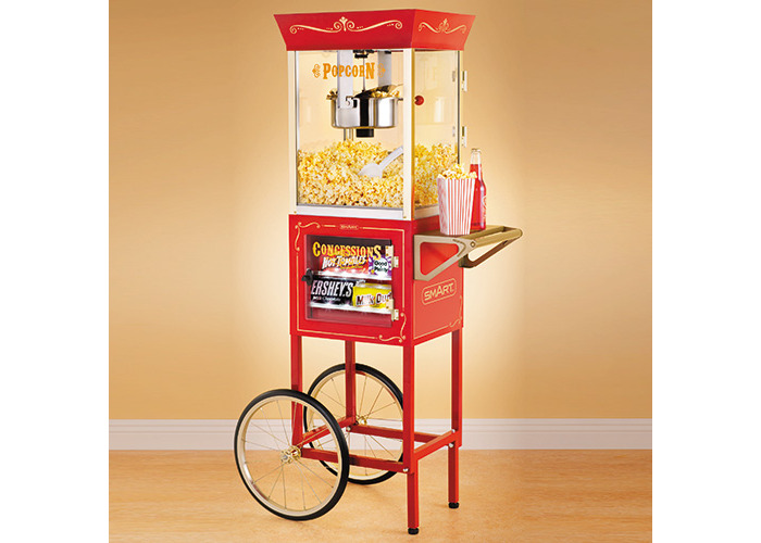"""SMART Nostalgia 59"""" Popcorn Vintage Concession Cart, 8oz Kettle - 1"""