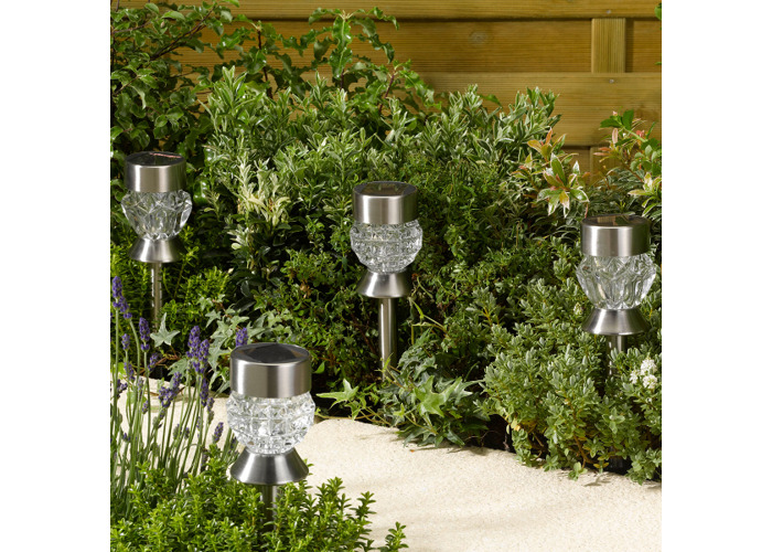 Solar Powered Crystal Stake Lights - Pack of 4 - 1