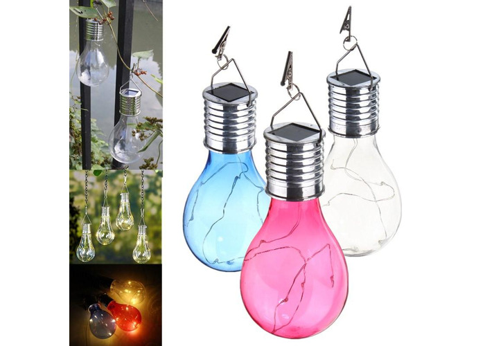 Solar Powered Warm White Waterproof Outdoor Garden Fairy Lighting Bulb Camping Hanging Lamp - 1